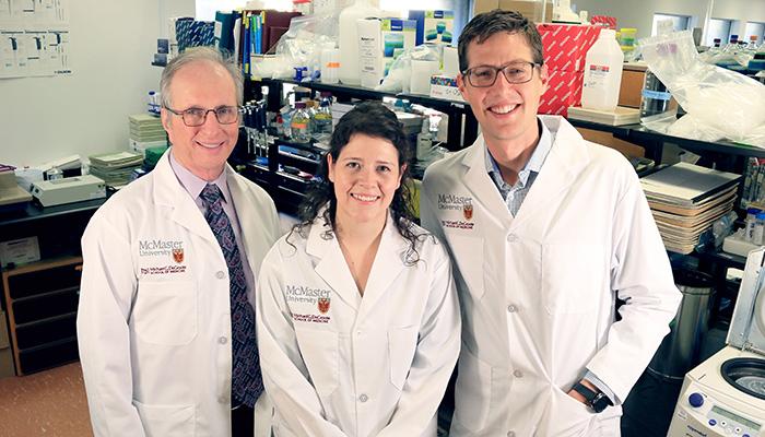 Hertzel Gerstein, left, professor of medicine; Emily Day, PhD medical sciences student, and Gregory Steinberg, professor of medicine at McMaster University.