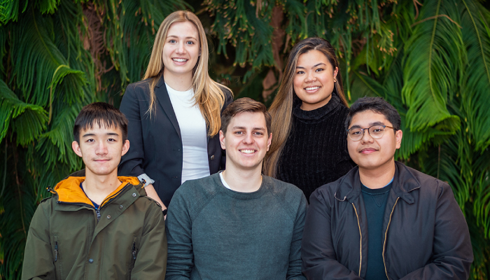 iBioMed HESE students Elaina Lausic, Chelsea Angeles, Eugene Wu, Konrad Grala, Raymond Tolentino make up one of six Innovators in Scrubs teams.